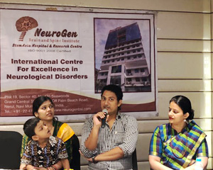 Akshat Chand with his parents and Dr Nandini