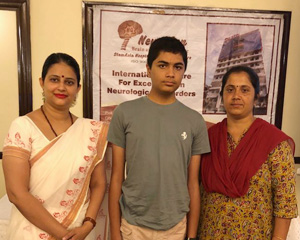 Kushal with his mother and Dr Nandini Gokulchandran at Karnataka Press Conference